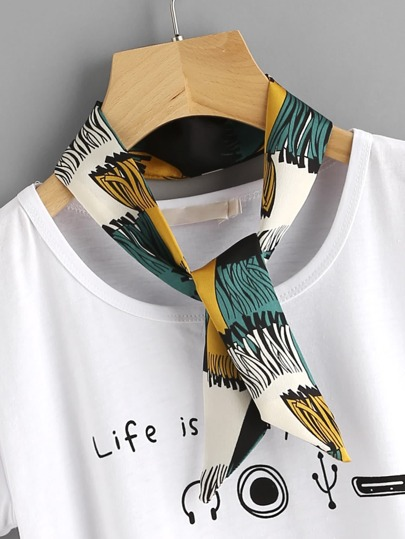 Tassel Print Twilly Scarf