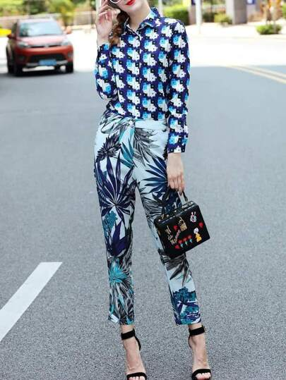 Color Block Top With Leaves Print Pants