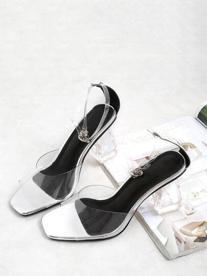 Sandalias de tacón cuadrado con correa superior con transparencia
