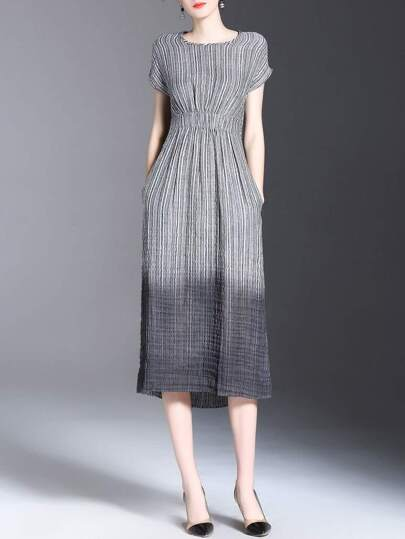 Gradient Elastic-Waist Pleated Dress