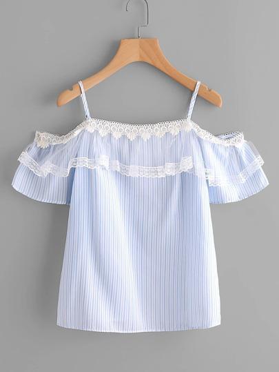 Schulterfreie Bluse mit Nadelstreifen, Netzstoff und Spitzen