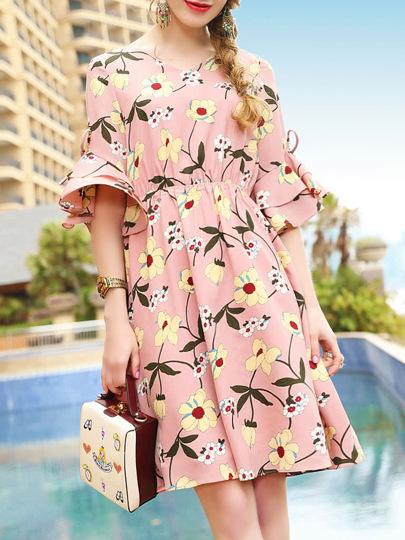 Bell Sleeve Flowers Print Dress