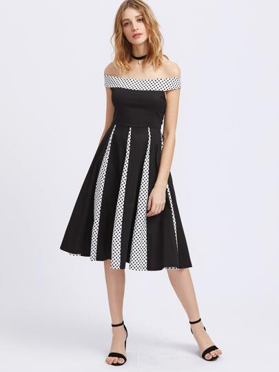 Bardot Contrast Polka Dot Fit & Flare Dress