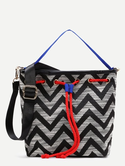 Chevron Print Drawstring Shoulder Bag