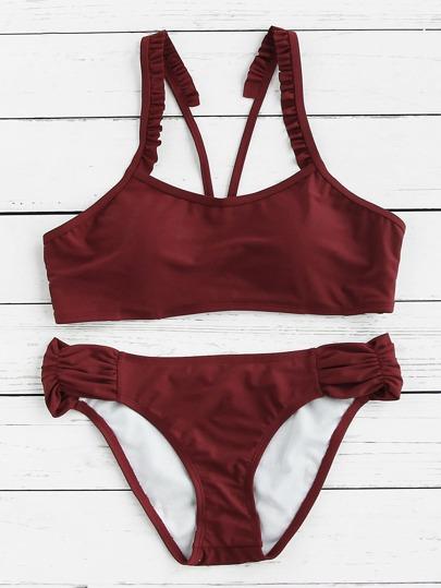 Frill Strap Ruched Detail Bikini Set