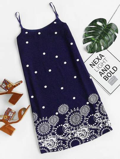 Polka Dot And Circle Print Slip Dress