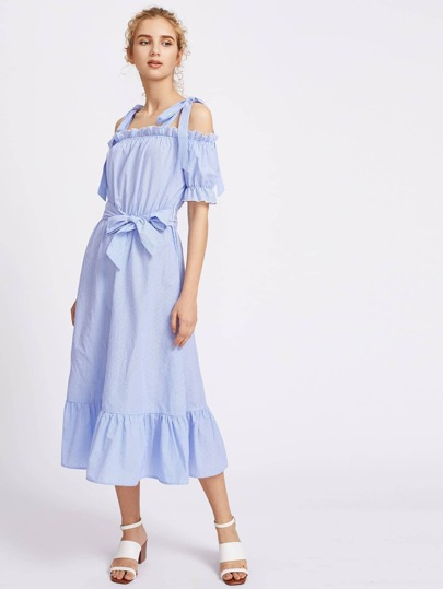 Bow Tie Shoulder Frilled Self Belt Pinstripe Dress
