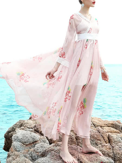 V Neck Sheer Floral Dress