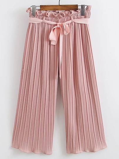 Tie Waist Pleated Wide Leg Pants