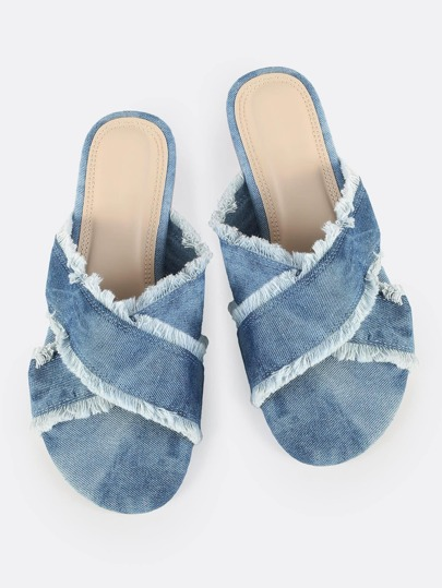 Cross Band Frayed Denim Sandals DENIM