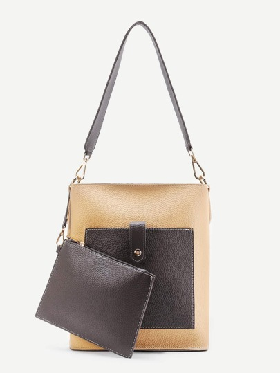 Two Tone Tote Bag With Clutch