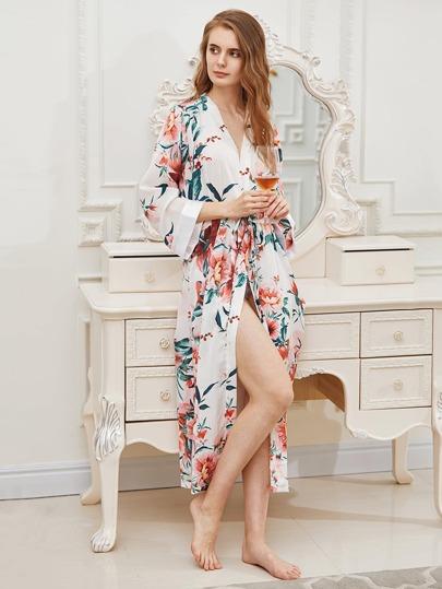 Floral Print Kimono Robe