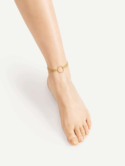 Ring Front Layered Chain Anklet