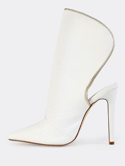 Open Back Croc Booties WHITE