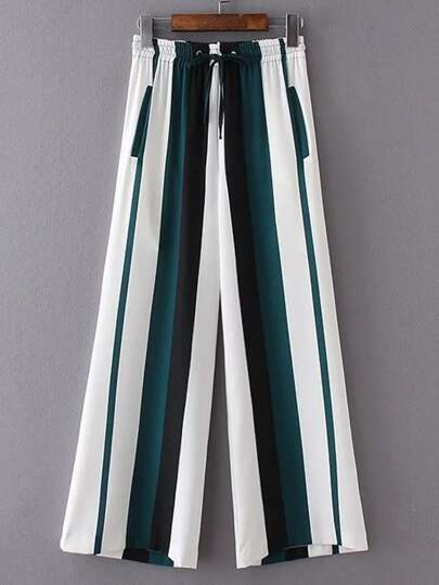 Smocked Drawstring Waist Striped Wide Leg Pants