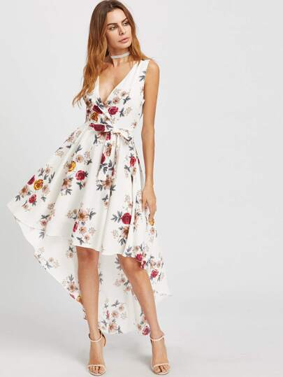 Surplice Neckline Florals Dip Hem Dress With Belt