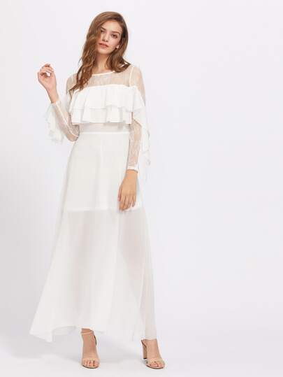 فستان الكشكش كم طويل لنساء