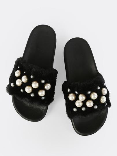 Fuzzy Pearl Slides BLACK