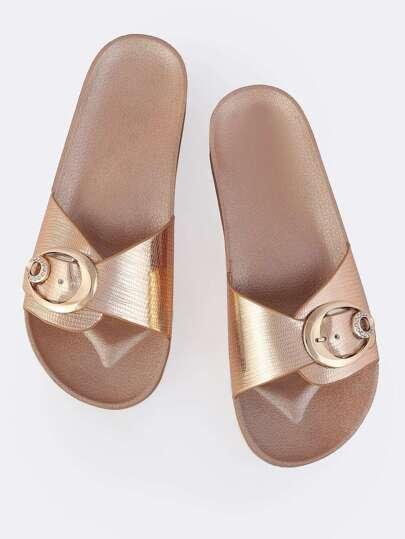 Metallic Buckle Slides ROSE GOLD