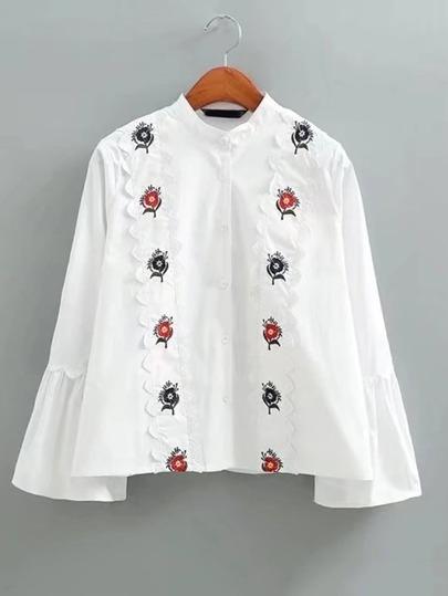 Bell Sleeve Scalloped Trim Embellished Blouse