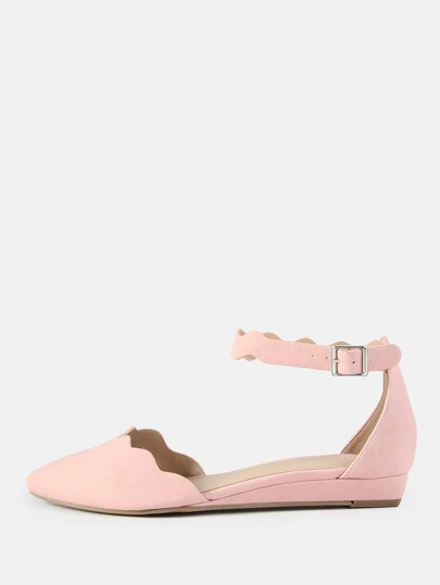 Ankle Strap Squiggle Flats BLUSH