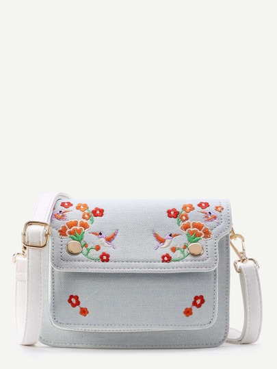Flower And Bird Embroidery Denim Shoulder Bag