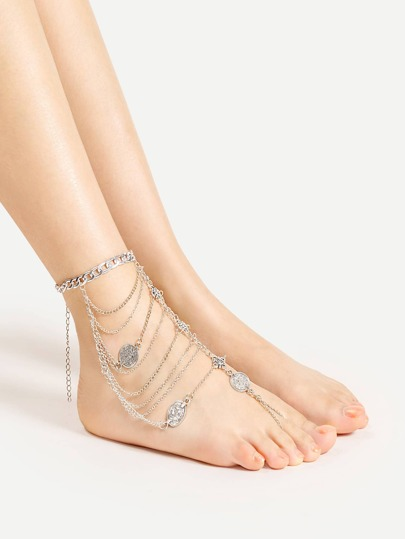 Tribal Coin Decorated Layered Anklet With Toe Ring