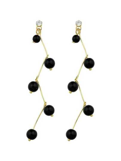 BLack Color Latest Fashion Imitation Pearl Long Earrings