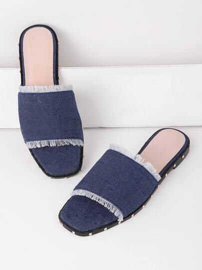 Sandales en jeans avec garniture déchiré