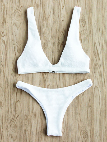 Sets de bikini escote V profundo con textura