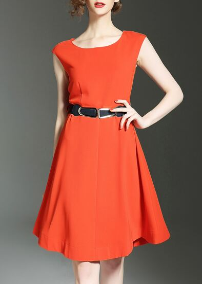 Crew Neck Belted A-line Dress