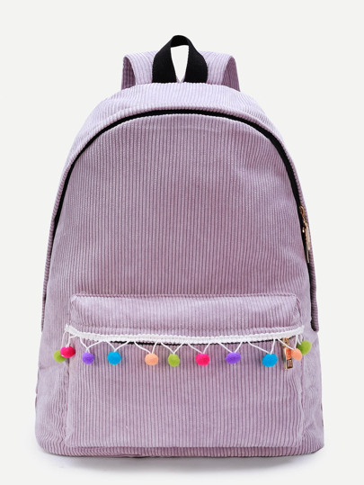 Pom Pom Design Corduroy Backpack