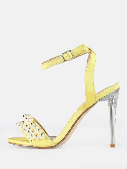 Pearl Clear Stiletto Velvet Heels YELLOW