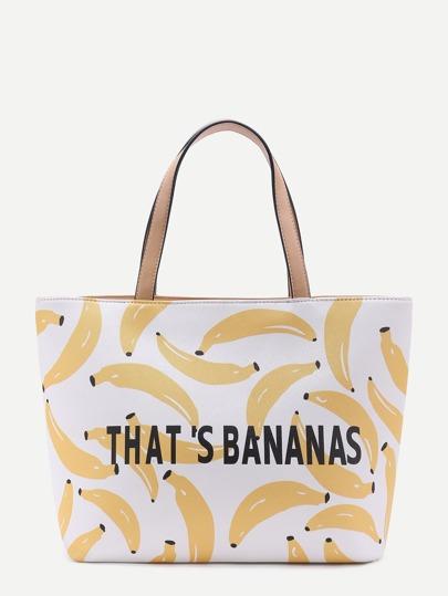 Sac à main imprimé des bananes et alphabets