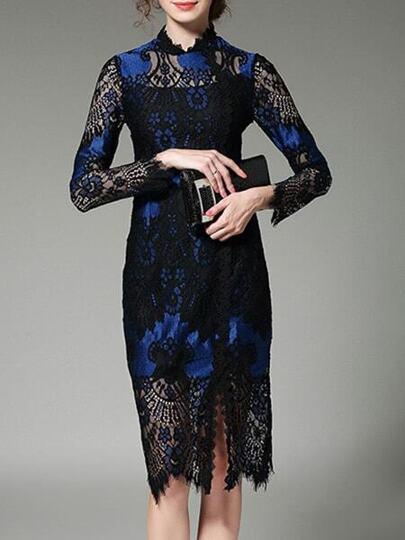 Sheer Print Lace Sheath Dress