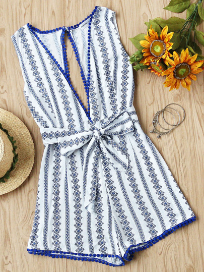 Deep Plunge Neck Printed Open Back Pom Pom Romper With Belt