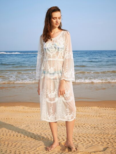 Flower Embroidery Sheer Cover Up Dress
