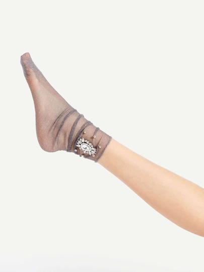 Calcetines con adornos de pedrería con brillo