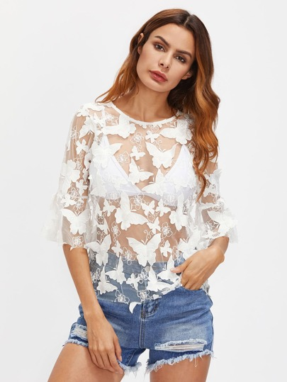 3D Butterfly Appliques See-Through Top