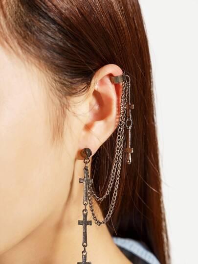 Multi Cross Chain Ear Cuff 1pc