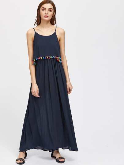 Pom Pom Trim Double Layer Cami Dress
