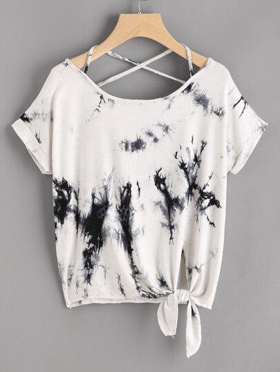 Camiseta con estampado de acuarela con nudo lateral de espalda con tiras cruzadas