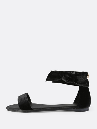 Open Toe Side Bow Velvet Sandals BLACK