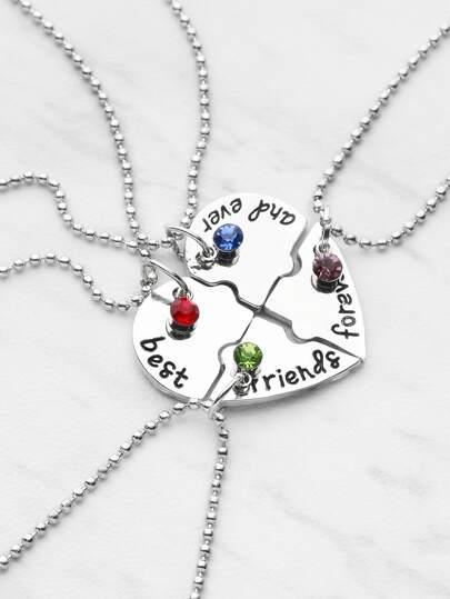 Collier en forme de cœur amitié avec cristal 4pcs