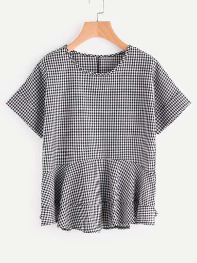 Frill Hem Gingham Check Top