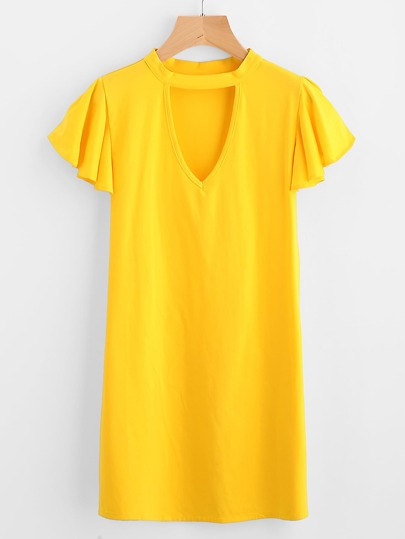 Cut Out Front Frill Sleeve Tee Dress