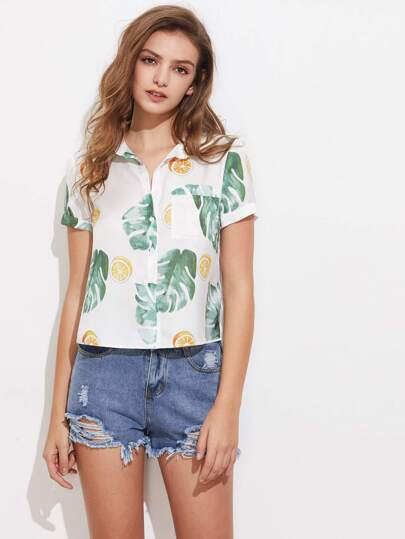 Tropical Print Patch Pocket Front Shirt