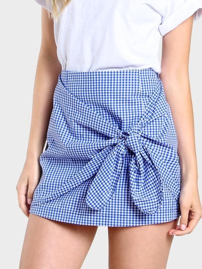 Front Knot Plaid Mini Skirt WHITE BLUE