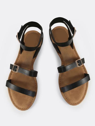 Triple Strap Sandal Flats BLACK