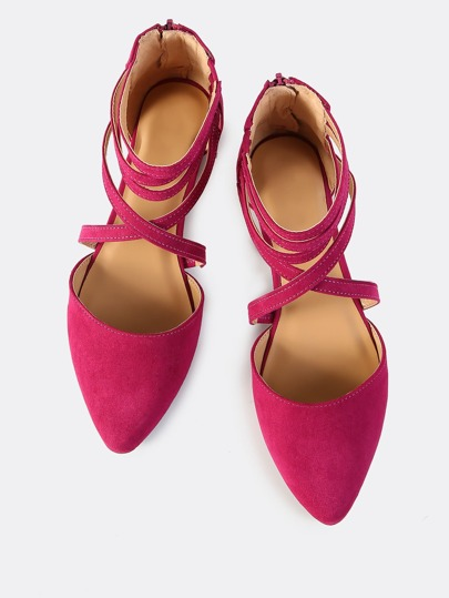 Multi Strap Closed Toe Flats FUSCIA